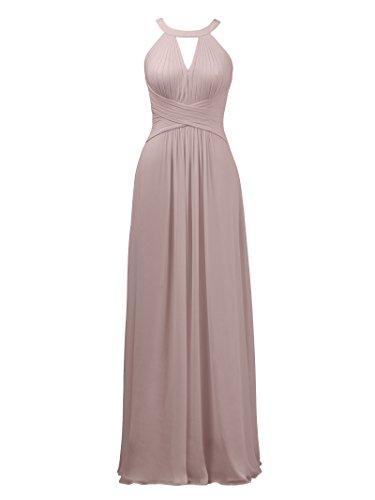 Alicepub A-Linie Brautjungfernkleider Halter Abendkleider Lang Hochzeitskleid, Silbernes Rosa, 60