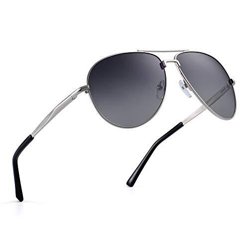 JIM HALO Polarisiert Flieger Sonnenbrillen Retro Metall Fahren Pilot Brille Damen Herren(Silber/Gradient Grau) - Pilot Navigator