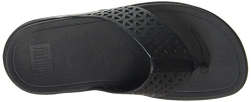Fitflop Leather Lattice Surfa Tm Infradito Nero (All Black)