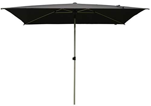 SORARA Parasol Jardin | Noir | 300 x 200 cm (3 x 2 m) | Rectangulaire Porto | Commande à Manivelle (Pied excl.)