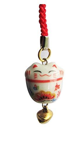 CHN elements. Home & Küche pch61-porcelain Handy Fall Charm/Schlüsselanhänger mit Feng Shui Lucky Cat on-cheer bis