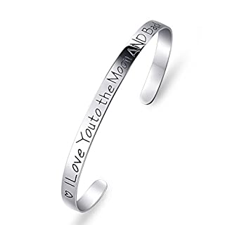 ELBONTEK 925 Sterling Silber I Love You to The Moon and Back-Armband 17.78 cm