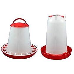 Anjing Lot de 2 abreuvoirs et mangeoire 3 kg Rouge et Blanc