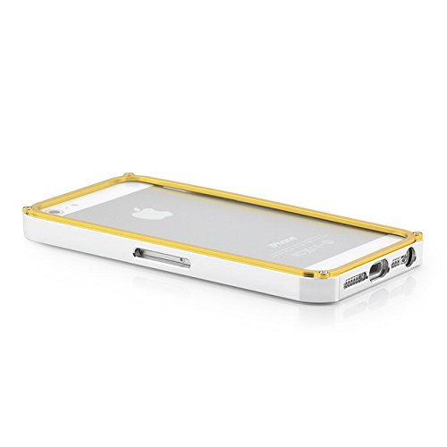 Saxonia Aluminium Bumper + 2x Panzerglas Apple iPhone SE 5 5S Slim Alu Case Schutz Hülle Rahmen Ultra Armor Protection Schutzhülle Silber-Rot Silber-Gold