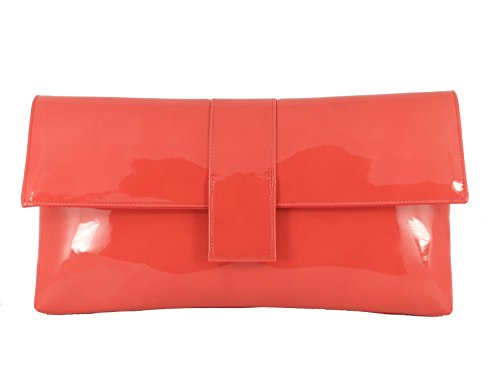 Sensationelle Faux Patent große Clutch Bag/Schultertasche Hochzeit Party Prom Tasche In Taupe (dunkelbeige) Korallen-Orange
