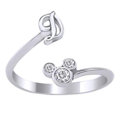 Vorra Fashion Ring aus 925er Sterlingsilber, Disney-Micky-Maus-Zirkonia, Initiale D, verstellbar