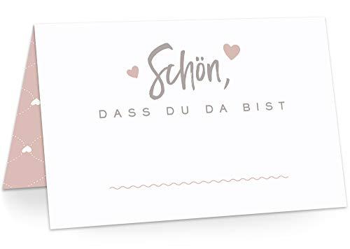 KAWAI-KAMI Tischkarten Platzkarten Namenskarten für Hochzeit Geburtstag Feier Taufe Kommunion Konfirmation Firmung Jugendweihe, 50 Stück Premium Qualität, Herzchen-Dekor, Powder Pink (Rosa)