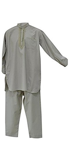 Desert Dress - Herren Afghan Pakistani Indisch Shalwar Kameez Anzug Kostüm Elegant Hosen Shirt - Grau, nicht angegeben -