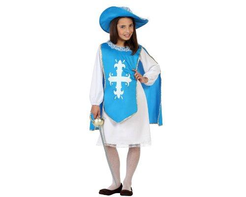 Atosa 23667 - Musketier Mädchen Kostüm, Größe 128, blau (Musketiere Kostüm Für Mädchen)