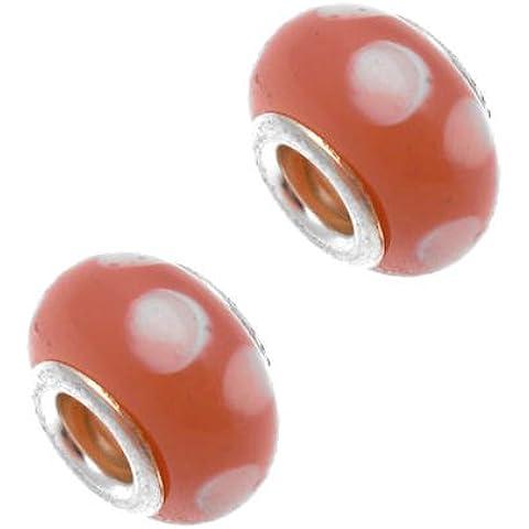Acosta perline, motivo a pois, colore rosa a pois, con ciondoli a perlina &, confezione da 2 pezzi, placcato argento
