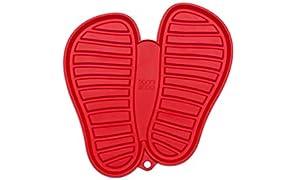 Sanni Shoo, shoo.pad, flexible, waschmaschinen-feste Schuh-Abtropf-Matte, Schuhablage, Schuhabtropfschale, Abtropf- und Schmutzfang-Matte für Schuhe M (bis Schuhgrösse 41), rot