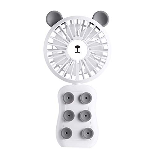 Tragbarer USB-Handheld-Mini-Lüfter Cute Bear 2 Geschwindigkeit einstellbar stumm persönlicher Fan Handy Halterung geeignet für Schlafzimmer Büro Student Schlafsaal Outdoor-Reisen Camping Etc (Bear White Ohren)