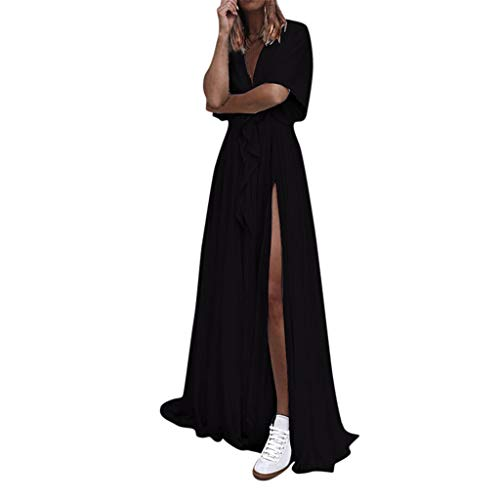 LijunMimo Damen Cocktail Party Elegant Abend Kleider V-Ausschnitt Einfarbig Hohe Taille Teilt Rüsche Maxi Sommerkleid - Baby Doll Cocktail-abend-kleid