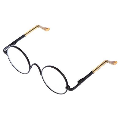 MagiDeal 1 Paar 1/6 Runden Rahmen Klare Linse Puppen Brillen Für 12 Zoll Blythe Puppen - Schwarz