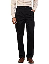 Bottom's Cotton Chinos Two Pleated Cartini Black Colored Trouser For Men