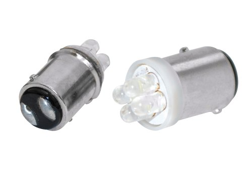 EUFAB 13467 - Candela Glow BA15D con 4 LED, colore: Bianco