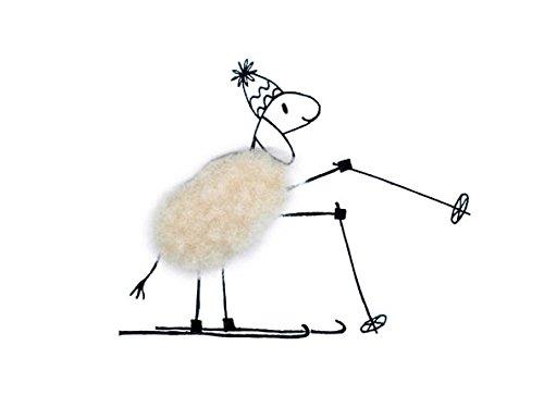 Plüschkarte / Plüschpostkarte A6 • 20708 \'\'Ski-Schaf\'\' von Inkognito • Künstler: INKOGNITO © Barbara Dienz-Sengmüller • Plüschpostkarten • Weih./Neujahr