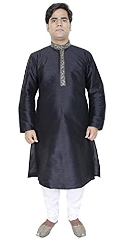 Mens Clothes Gifts Kurta Pajama Party Wear Indian Dress Men Black Size L