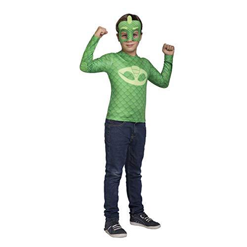Viving Costumes Kostüm PJ Masks Gekko Größe 7/8Jahre Shirt, Mehrfarbig ()
