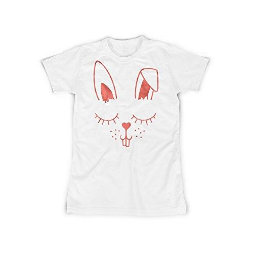 Frauen T-Shirt mit Aufdruck Weiß Gr. XXXL Süß Haze Herz Bunny Design Girl Top Mädchen Shirt Damen Basic 100% Baumwolle Kurzarm