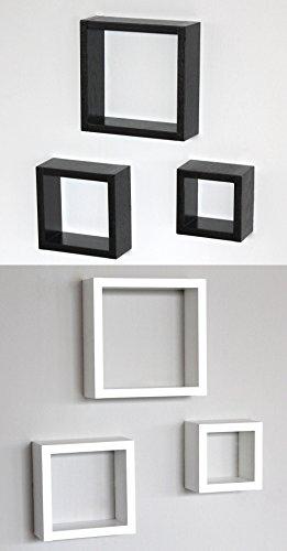 Lot de 6 étagères design moderne en bois mural 1 Set 3 CMA et 1 Set 3 CBI