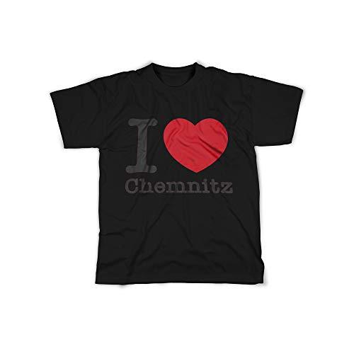Herren T-Shirt mit I Love Chemnitz Aufdruck in Black Gr. L I Love Chemnitz Design Top Shirt Herren Basic 100% Baumwolle Kurzarm