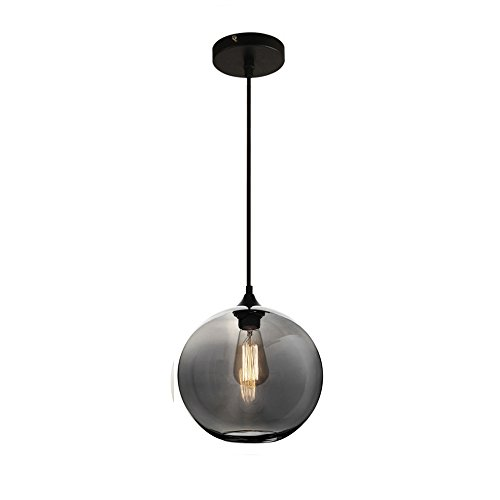 MZStech Spherical Klassische Glas Pendelleuchte, Celling Light Base E27 Birne (Grau)