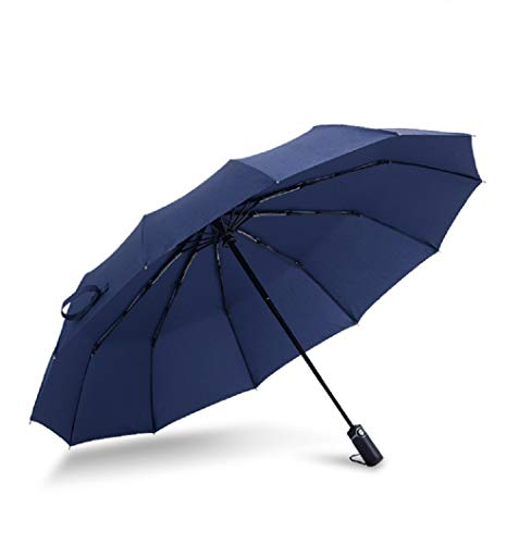 Paraguas, paraguas de viaje de secado rápido compacto, armazón a prueba de viento reforzado, apertura / cierre automático, manija antideslizante para un fácil transporte (negro)