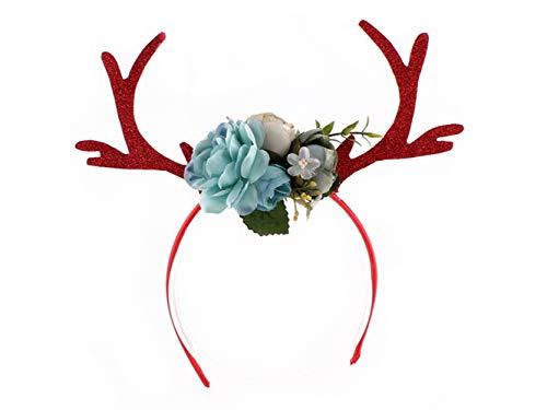 Weihnachtsfeiern Für Kostüm Niedliche - Heelinna Weihnachten Niedlich Geweih Haarband Stirnband Weihnachtsfeier Kostüm Zubehör für Frauen Mädchen (Rot + Blau)