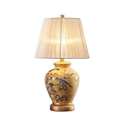 SLH Gelb American Country Tischleuchte Schlafzimmer Nachttischlampe Kreative Keramik Einfache moderne Wohnzimmer Tischlampe (Gelb Moderne Keramik-tischlampe)
