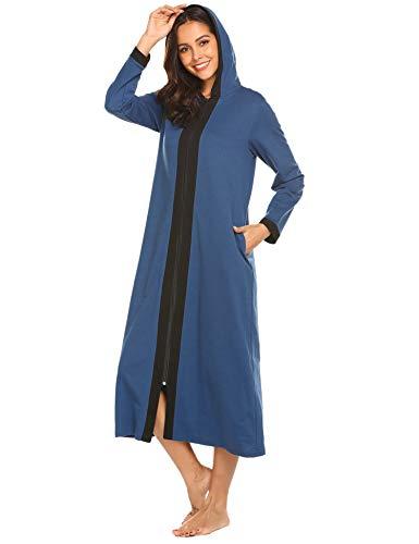 Doneto Frauen Baumwolle morgenmantel mit Kapuze lang nachthmd Stilen Nachtwäsche