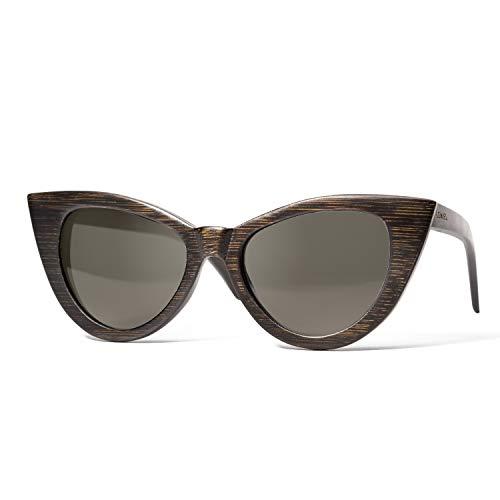 LEMIEL - DIE ÖKO-HOLZBRILLE - Vintage Cateye aus Holz - Polarisiert - Damen - Bambus-Etui - UV...