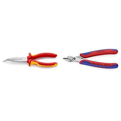 Knipex 26 26 200 - Flachrundzange mit Schneide, VDE-geprüft & 78 03 125 - Präzisionszange Electronic Super Knips
