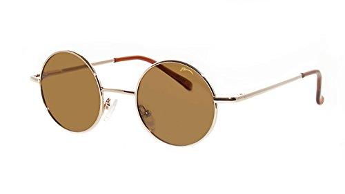 Sonnenbrille John Runde Retro/Hippi Brille 60er-Jahre 'Lennon' Stil/Runde Brillengläser/Polarisierte Gläser/ R2317 (R2317C Gold / Gläser Braun )