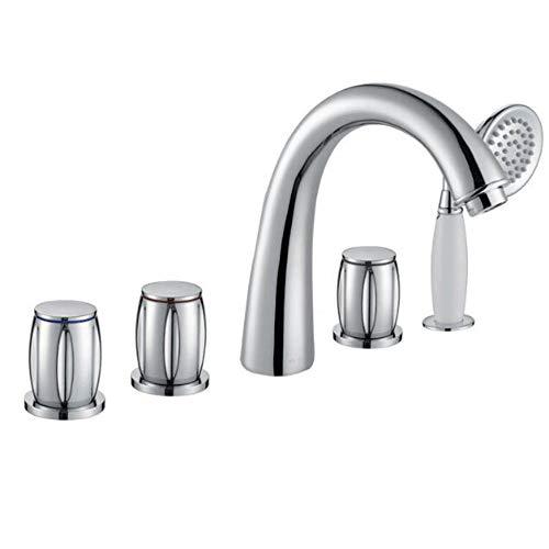 Zeitgenössische Badewanne (HUIJIN1 Römischer Wannenhahn, Chrom-Badewannen-Duschdämpfer, zeitgenössischer Soilfing-Flaser-Basenfüller-Wasserhahn mit 5 Löchern 3 Griffe, Hochdruckspülhahn)