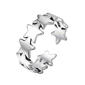Chandler Ring mit Sternen, silberfarben, 1 Stück
