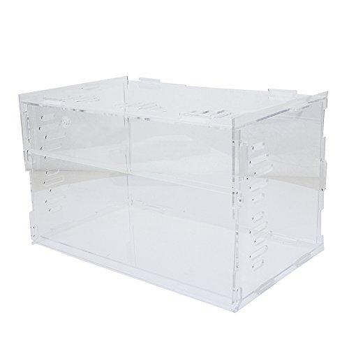 SENZEAL Acryl Terrarium Box Reptilien & Amphibien Transparent Zuchtkiste für Schlange Eidechse Schildkröte Spinne Reptil Kombination Terrarium Groß