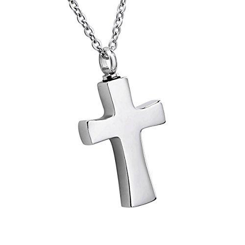 K-Y - Collar con colgante de urna en forma de cruz de cristal para cenizas de acero inoxidable, acero inoxidable, Cross, 4cmx2.2cm