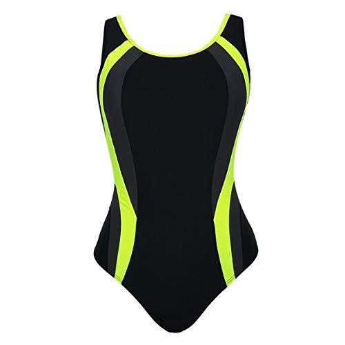 B-commerce KESELEY Damen Sport Badebekleidung - Damen Tailliert Leichtathletik Badeanzug Bodysuits Gestreifter Monokini Patchwork Badeanzug mit hoher Taille
