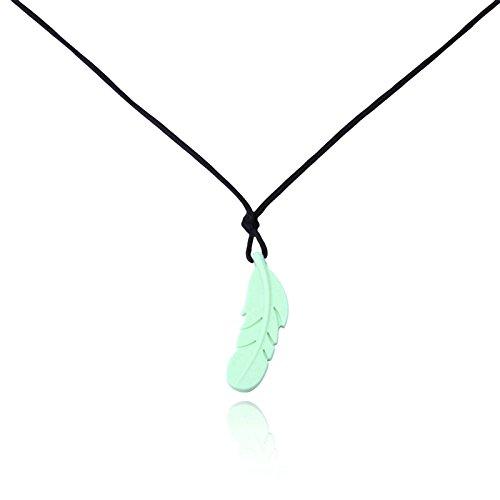 Epinki Beißringe Baby Kette Lebensmittelechtes Silikon Zahnen Anhänger Halskette Feder Design Grün Chewelry Mama Kette 80cm