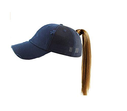 caomingxuan Baseballmütze Hut Pferdeschwanz Vintage Sport Glitter Messy High Bun Hut Pony Kappen Einstellbare Baumwolle Und Mesh Trucker Baseball Cap, Colour8 -