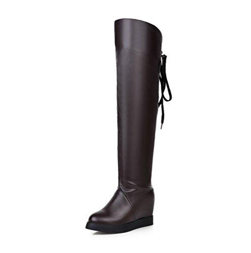 AgooLar Damen Ziehen auf Rund Zehe Hoher Absatz PU Überknie Hohe Stiefel Stiefel, Weiß, 35
