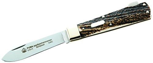 PUMA Erwachsene Jagd-Taschenmesser, Stahl 1.4110, Hirschhorn, Neusilber, Mehrfarbig, One Size