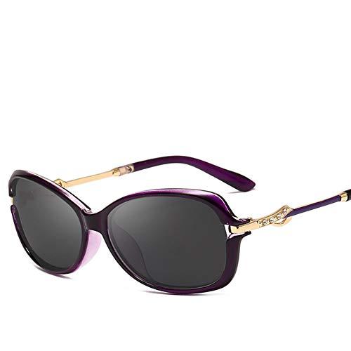 Yuanz Hiretro Polarized Damen Sonnenbrille Damen Markendesign Ovaler Rahmen Metall Tempel Inlay Uv400,S217