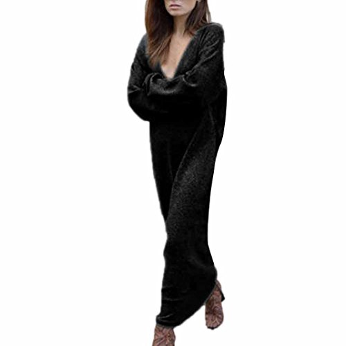 Longra Damen Strickkleid Pullover Kleid Herbst Winter Strick Pullover Sweater Damen Langarm gestrickte Strickjacken Pullover Jumper langes Kleid (Black, XL) (Strickjacke Drop-schulter Gestrickt)