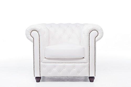 Original Chesterfield Sofa und Sessel – 1 / 1 / 3 Sitzer – Vollständig Handgewaschenes Leder – weiß