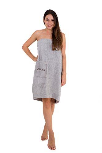 Saunakilt für Damen 75 x 140 cm Julie Julsen mit Druckknöpfen und Gummizug 100% Baumwolle Tasche aufgesetzt Silber