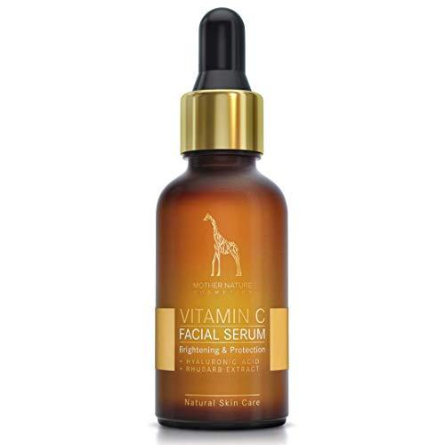 Mother Nature – Vitamin C Serum | 30 ml Hochdosiert | Anti-Aging Gesichts- und Hautpflege inkl. Hyaluronsäure und Vitamin E