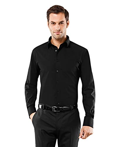 Vincenzo Boretti Herren-Hemd bügelfrei 100% Baumwolle Slim-fit tailliert Uni-Farben - Männer lang-arm Hemden für Anzug Krawatte Business Hochzeit Freizeit schwarz 41/42