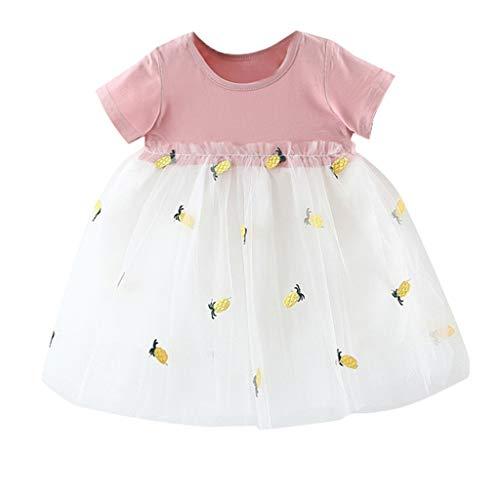 JUTOO Neugeborenes Kleinkind scherzt Baby-Mädchen gestreiften Tulle-Patchwork-Tutu-Prinzessin Party Dress (Rosa 2,100)